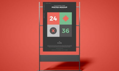 Free-Front-View-Advertising-Stand-Poster-Mockup-Design