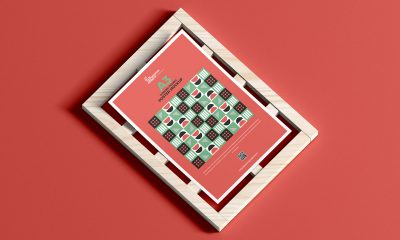 Free-Top-View-Wooden-Frame-With-A3-Poster-Mockup-Design