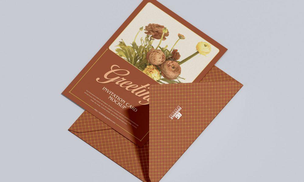 Free-Envelope-With-Fabulous-Invitation-Mockup-Design