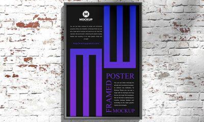 Free-Outdoor-Bricks-Wall-Framed-Poster-Mockup-Design