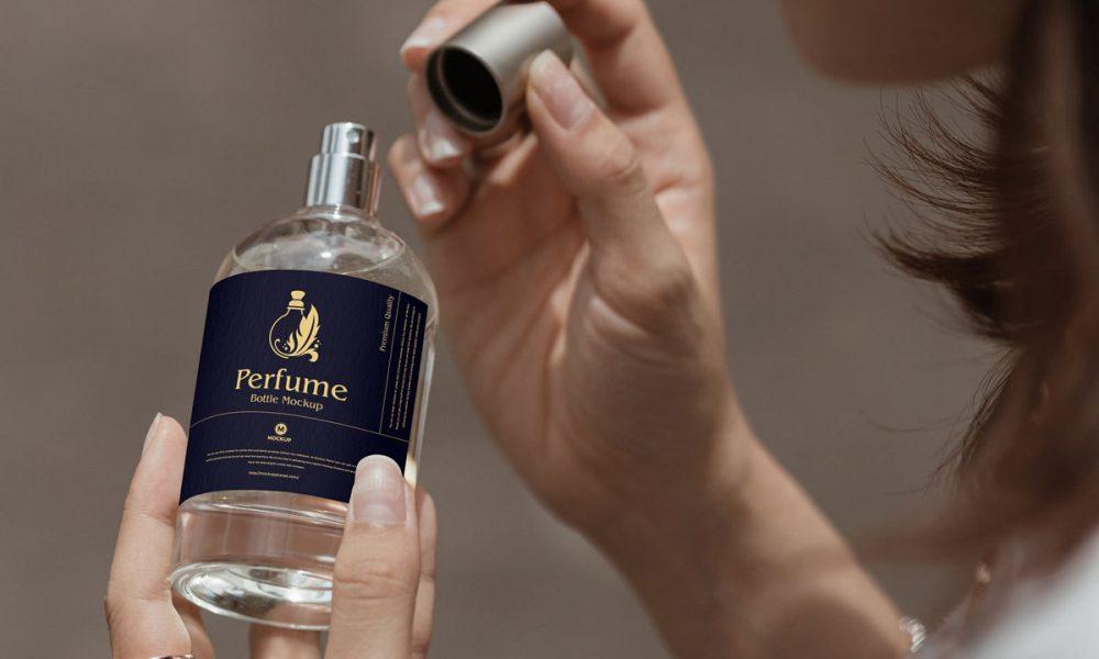 Free-Woman-Opening-Perfume-Bottle-Mockup-Design