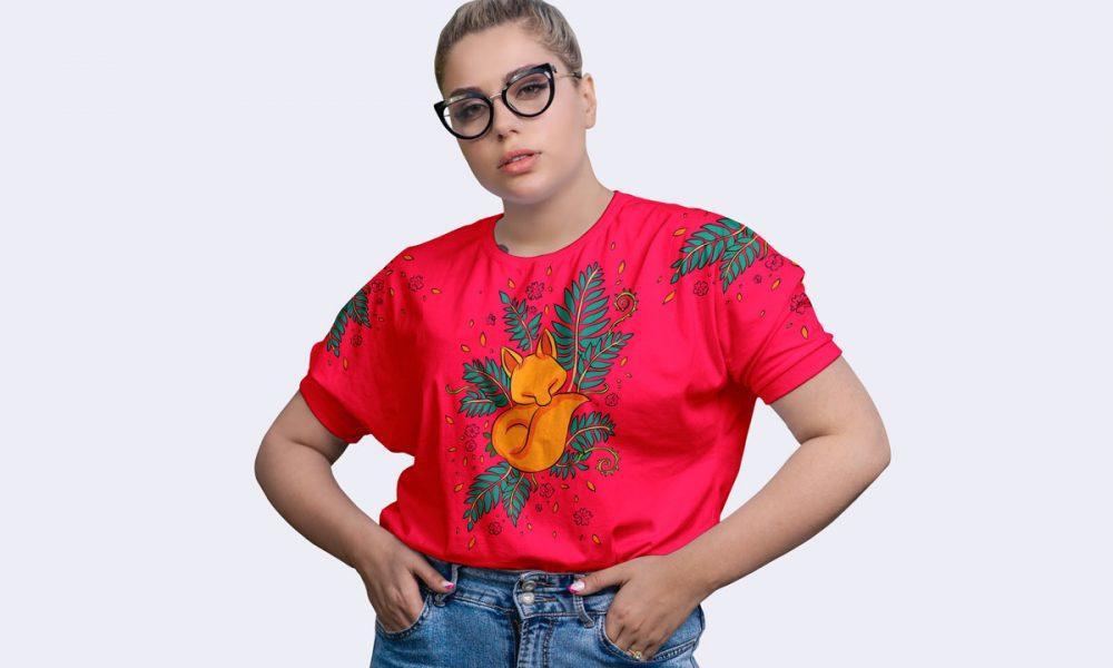 Free-Girl-Wearing-Round-Neck-T-Shirt-Mockup-Design