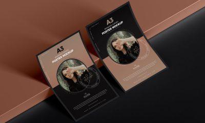 Free-Premium-A3-Curved-Paper-Poster-Mockup-Design