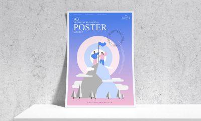 Free-Premium-Curved-Paper-A3-Poster-Mockup-Design