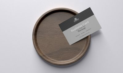 Free-Top-View-Wooden-Bowl-With-Business-Card-Mockup-Design