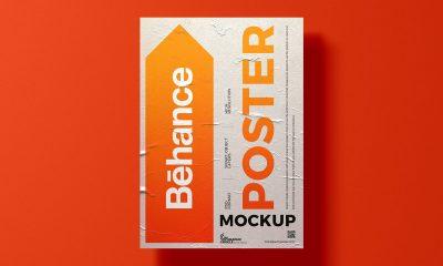 Free-Glued-Paper-A3-Poster-Mockup-Design