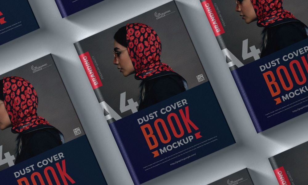 Free-Top-View-Dust-Cover-Book-Mockup-Design