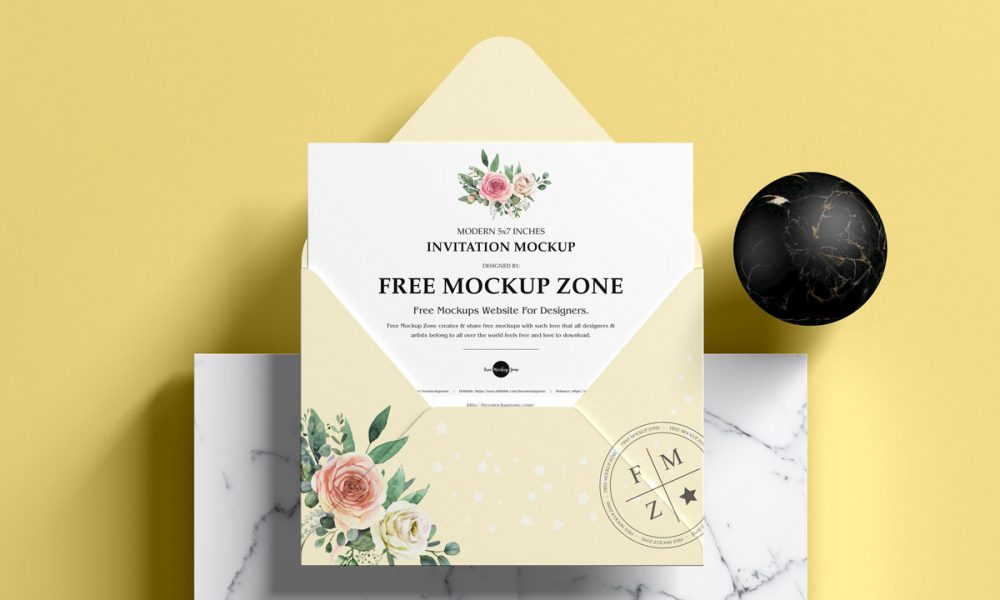 Free-Premium-Top-View-Invitation-Mockup-Design